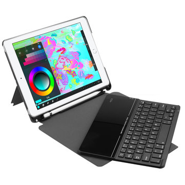 Detachable Bluetooth Tempered Glass Keyboard Kickstand Case For New iPad 9.7