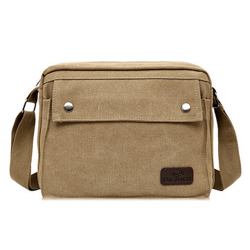 Men Canvas Solid Vintage Crossbody Bag Leisure Outdoor Shoulder Bag Travel Bag