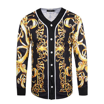 Mens Spring Thin Coat 3D Printing Vintage V-neck Button Sportswear Casual Baseball Shirt