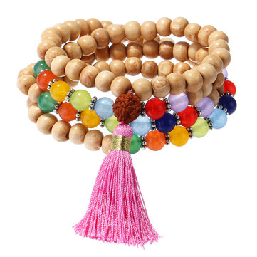 108Pcs Wood Buddha Beads Multilayer Bracelet Colorful Agate