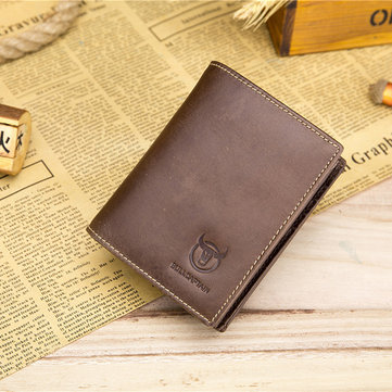 Bullcaptain Men Genuine Leather Retro Business Short Wallet