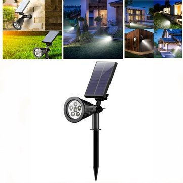 Solar Powered 6LED Spotlight Adjustable Wall Light Outdoor Landscape Waterproof Lamp for Garden