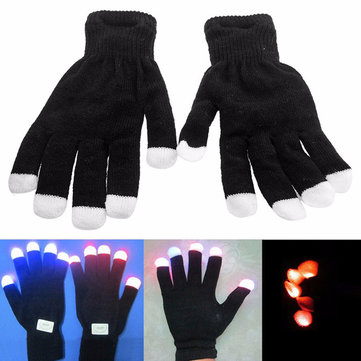 LED Colorful Flashing Glowing Gloves Finger Light Gloves Performance Prop