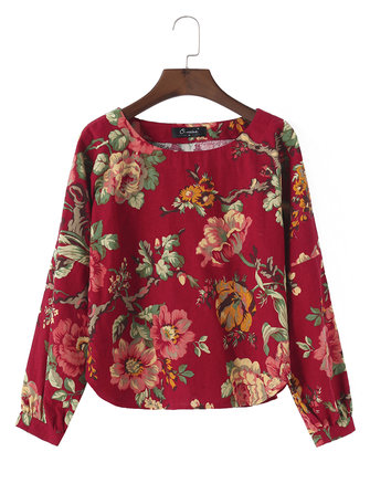 O-NEWE Vintage Women Flower Printed O-neck Shirt