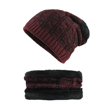 Men Winter Warm Wool Weaving Skullcap Hat Plus Neck Warmer Multipurpose Two Units