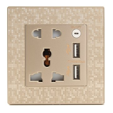 250V 10A Double 2 Gang UK US Wall Plug Socket with 2 USB Charger Port Outlets