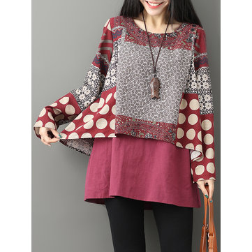 Casual Printed Double Layered O-neck Women Blouse
