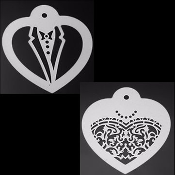 2Pcs Wedding Apparel Cookie Stencil Icing Sugar Coffee Cake Biscuit Fondant Stencil