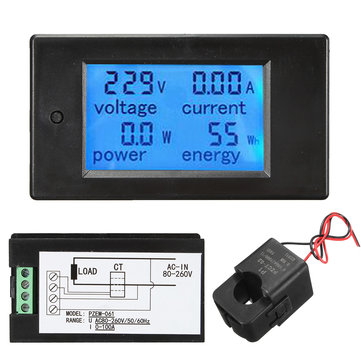 100A AC260V Digital Watt Power Energy Meter Current Tester Volt Meterr with Open Close CT
