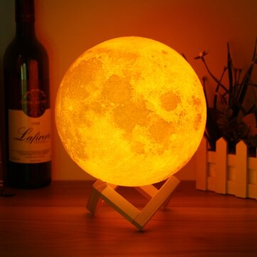 20cm 3D Magical Two Tone Moon Lamp USB Charging Luna LED Night Light Touch Sensor Gift
