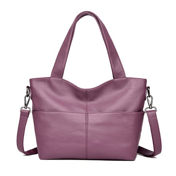 Women Leisure Solid Soft Leather Tote Bag Crossbody Bag