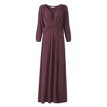 Elegant Women V Neck Three Quarter Sleeve Party Dress