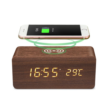 [2019 Third Digoo Carnival] Digoo DG-AC80 LED 12/24 Hour Adjustable Display Wooden Clock Wirless Charging Voice Control Alarm Clock