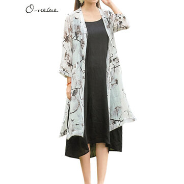O-NEWE Vintage Women Ink Printing Pocket Split Kimono Cardigan