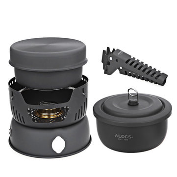 ALOCS CW-C05 10 in 1 Camping Cookware Bowl Sets Outdoor Portable Travel Tableware Set