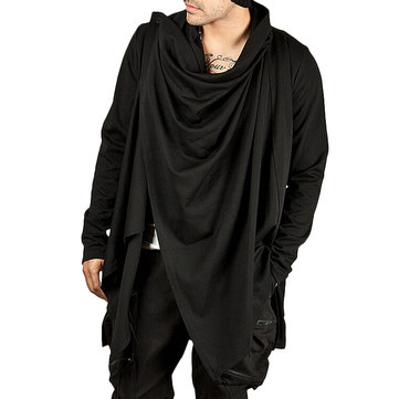 ChArmkpR Mens Irregular Draped Shawl Collar Solid Color Fashion Cardigans