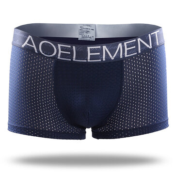 Ice Silk Mesh Breathable U Convex Soft Comfy Boxer Briefs