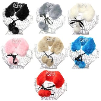 Woman Ladies Faux Fox Fur Neck Collar Scarves Ribbon Hairball Shawl Scarf