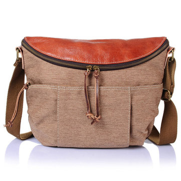 Vintage Genuine Leather Canvas Shoulder Bags Casual Crossbody Bags Ipad Bags