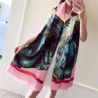 Women Ladies Skirt Printing Tassel Scarf Polyester Outdoor Sunscreen Shawls Wraps