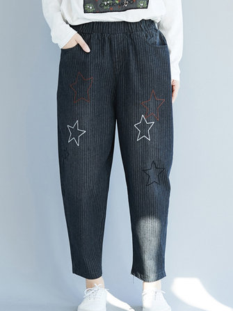 Star Embroidery Stripe Elastic Waist Pants With Pocke
