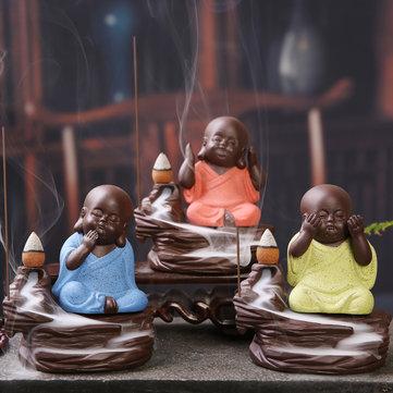Buddha Backflow Incense Cone Burner Holder Buddhist Monk Zazen Home Fragrant Backflow Censer Decor