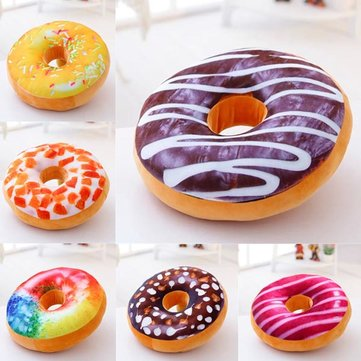 Honana WX-333 40cm Colourful Plush Creative 3D Squishy Donut Throw Pillow Sofa Car Cushion Valentines Gift