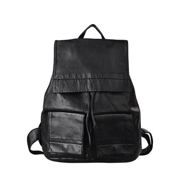 Women Black Pu Travel Messenger Backpack