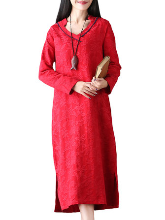 Vintage Women V-Neck Long Sleeve Jacquard Loose Maxi Dress