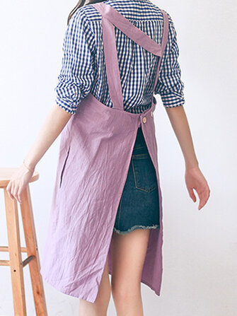 Vintage Cotton Linen Japanese Style Pure Color Aprons Dress with Pockets