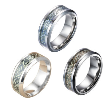 8MM Stainless Steel Luminous Dragon Ring Unisex Fluorescent Glowing Rings For Men Women Gift