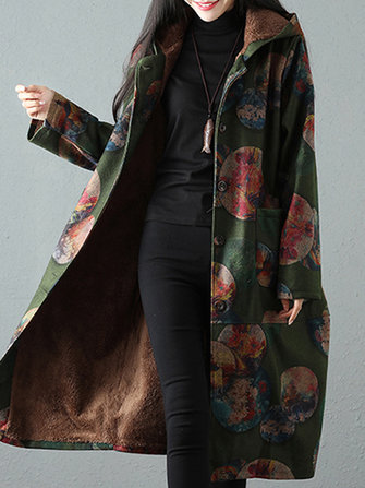Vintage Women Print Loose Long Sleeve Thick Hooded Coats