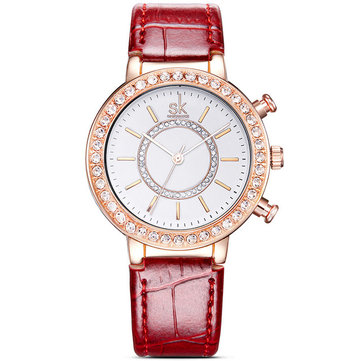 SK K0012 Diamonds Gold Case Moden Women Gift Wrist Watch