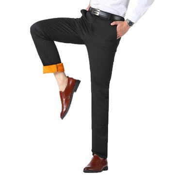 Thermal Velvet Straight Suit Pants Thick Warm Trousers