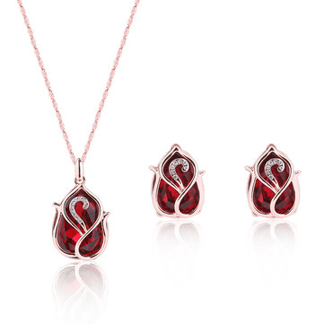 Luxury Jewelry Set Red Crystal Rhinestone Necklace Earrings Set