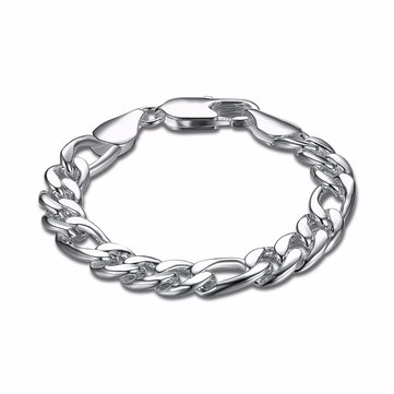 Punk Men Bracelet Simple Rock Width Silver Plated Chain Bracelet