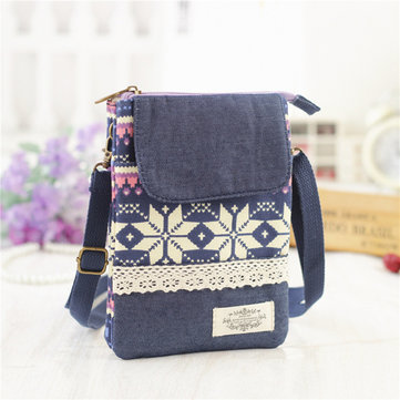 Cotton National Style 6inch Phone Bag Shoulder Bag Crossbody Bags