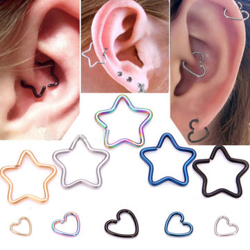 1pcs Body Piercing Earring Lip Nose Heart Star Stud Earring