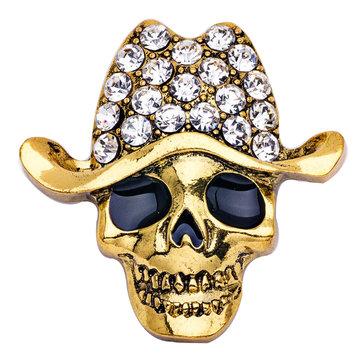 Europe Style Alloy Crystal Skull Brooch