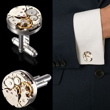 Men Watch Pattern Cufflinks Mechanical Bare Wedding Gift Suit Shirt