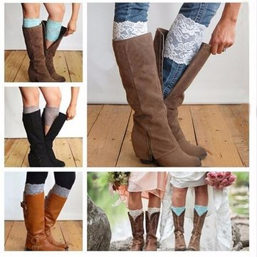 Women Lace Leg Warmer Stretch Lace Booties Boot Covers