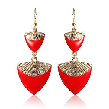 Enamel Triangle Shape Long Drop Earrings
