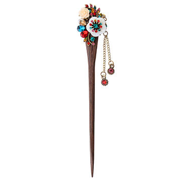 Vintage Women Hairpin Crystal Rhinestone Flower Hairpin