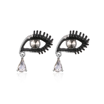 Trendy Cute Earrings Eyes Rhinestone Crystal Earrings
