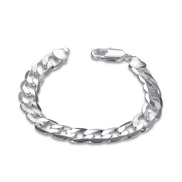 YUEYIN Simple Men's Bracelet Silver Plated Width Oval Chain Bracelet