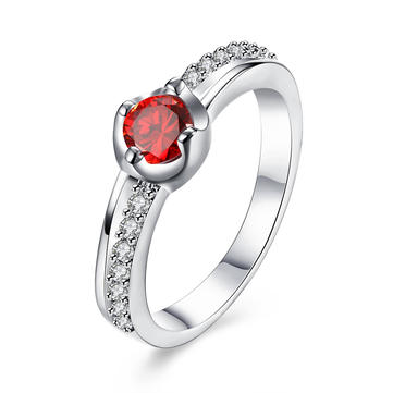 YUEYIN Simple Ring Silver Plated Zircon Ring