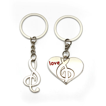 2 pcs Sweetheart Heart Music Alloy Keychain