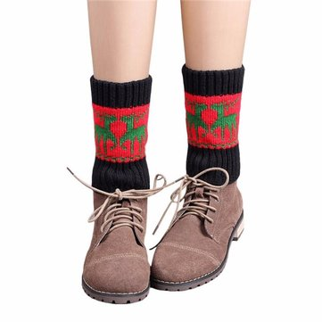 Elk Pattern Winter Knitted Wapiti Leg Warmers Socks Boot Cover