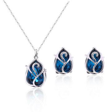 Elegant Jewelry Set Blue Crystal Rhinestone Earrings Necklace Set
