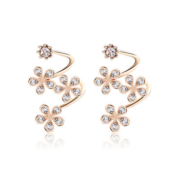 Trendy Special Earrings Flower Rhinestone Spiral Earrings